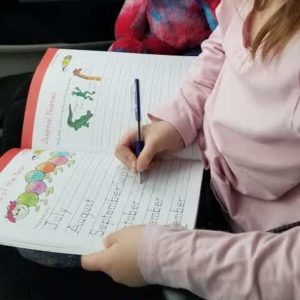 Picture of child's hand writing in a book